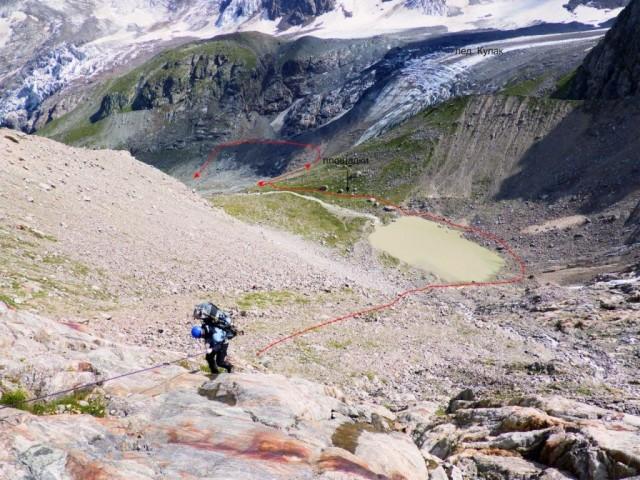 Фото 60 спуск по лбам и дальнейший спуск в долину р. Кулак-Су
