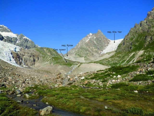 Фото 62 вид вверх по долине реки Кулаксу в сторону ледника Южный Чат